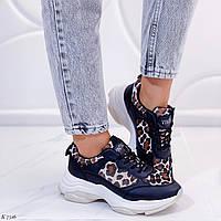 Стильные женские кроссовки черные + лео эко-кожа на подошве 4,5 см, фото 1