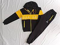"""Спортивный подростковый костюм для мальчика на манжетах """"Jordan"""" 8-12 лет, черный с желтым"""