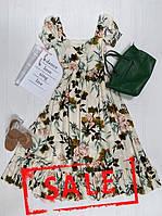 Летнее коттоновое женское платье миди с цветочным принтом, Teresa, размеры S-L