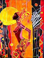Витражная картина «Танцующая африканка»
