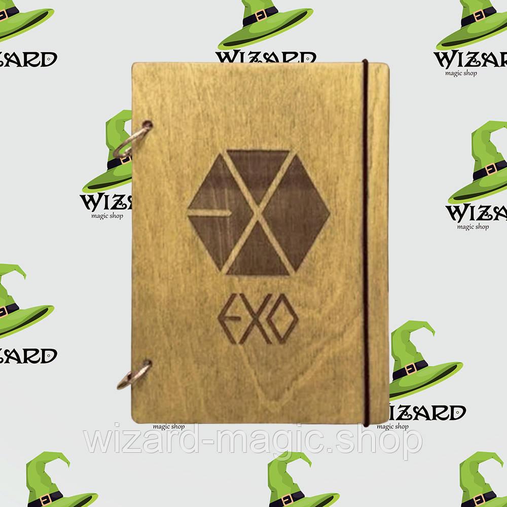 Деревянный блокнот В6 EXO kpop (мореное дерево)