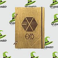Деревянный блокнот В6 EXO kpop (мореное дерево), фото 1