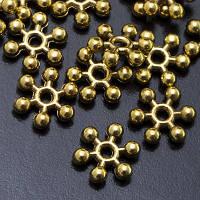 Бусины-Разделители Металлические, Форма: Снежинка, Цвет: Античное Золото, Размер: 8.5х2.5мм, Отв-тие 1.5мм, (УТ0003008)