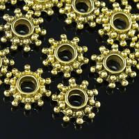 Бусины-Разделители Металлические, Цветок, Цвет: Античное Золото, Размер: 9х3мм, Отв-тие 3мм, (БА000001618)