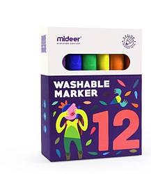 Набор легкосмываемых маркеров для детей 12 шт, Mideer