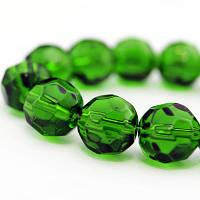 Бусины стеклянные круглые, прозрачные, граненые, Цвет: Зеленый, Размер: Диаметр: 6мм, Отверстие 1мм, около 50шт/нить, (УТ000007257)