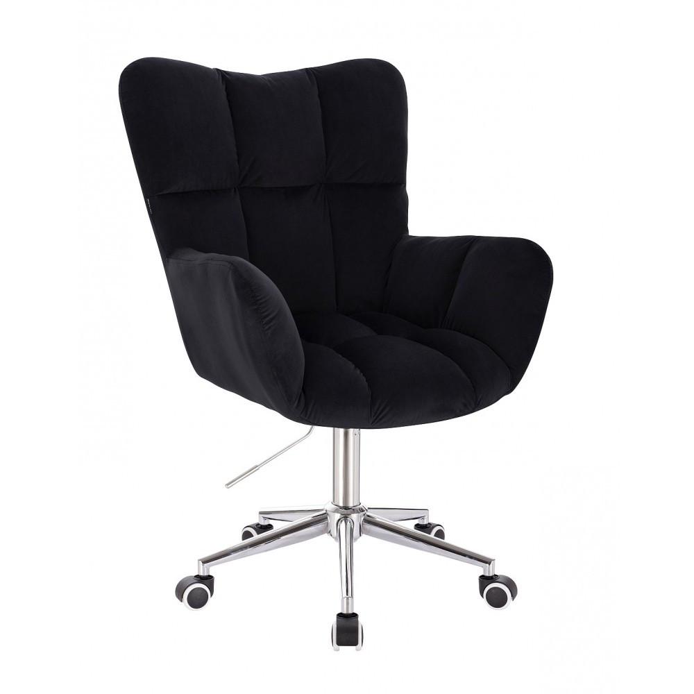Крісло HR650K чорний велюр хромована основа