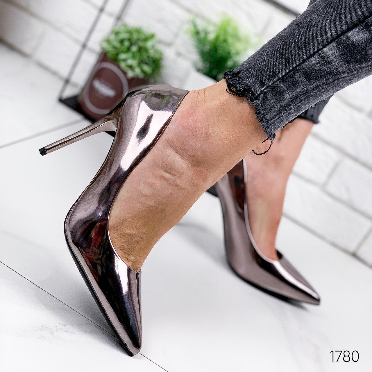 Туфли женские бронзовые на каблуке из эко кожи. Туфлі жіночі  бронзові на підборах з еко шкіри