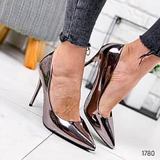 Туфли женские бронзовые на каблуке из эко кожи. Туфлі жіночі  бронзові на підборах з еко шкіри, фото 3