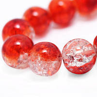 """Бусины """"Битое Стекло"""" Двухцветные, круглые, Цвет: Красный, Диаметр: 8мм, Отверстие 2мм, около 105шт/нить, (УТ000004906)"""