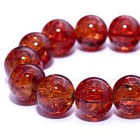 """Бусины """"Битое Стекло"""" Круглые, Цвет: Оранжевый, Диаметр: 10мм, Отверстие 2мм, около 80шт/нить, (УТ0013562)"""