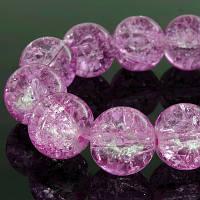 """Бусины """"Битое Стекло"""" Круглые, Цвет: Розовый яркий, Диаметр: 10мм, Отверстие 2мм, около 80шт/нить, (УТ0002903)"""