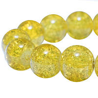 """Бусины """"Битое Стекло"""" Круглые, Цвет: Золотистый, Диаметр: 10мм, Отверстие 2мм, около 80шт/нить, (УТ0005840)"""