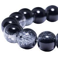 """Бусины """"Битое Стекло"""" Двухцветные, круглые, Цвет: Черный, Диаметр: 10мм, Отверстие 2мм, около 80шт/нить, (УТ000004448)"""
