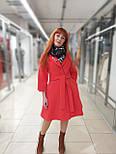 Пальто демисезонное кашемировое красное  с отрезной юбкой Raslov 265, фото 4