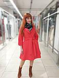 Пальто демісезонне кашемірове червоне з відрізний спідницею Raslov 265, фото 2