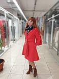 Пальто демісезонне кашемірове червоне з відрізний спідницею Raslov 265, фото 3
