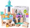 Деревянные блоки конструктор для детей Ecotoys 50 шт ведро + сортировщик (дерев'яні блоки для дітей)
