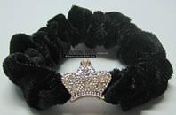 Резинка для волос бархат корона 0012, черная