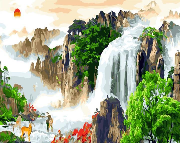 """Картина по номерам """"Горный водопад"""" Сложность: 3 (животные, природа, пейзаж, лес)"""