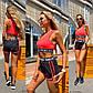 Черно-розовый комплект для фитнеса и полданса с шортами и топом, фото 2