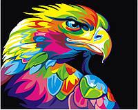 """Картина по номерам """"Радужный орел"""" Сложность: 3 (яркая, птица, цветная)"""