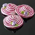 Бусины из Текстильной Нити, Ручная Работа, Шляпка, Цвет: Розовый, Размер 37х7мм, без отверстия, (УТ0010296)