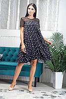 Женское легкое летнее платье трапеция из софта (40-46) (с поясом)