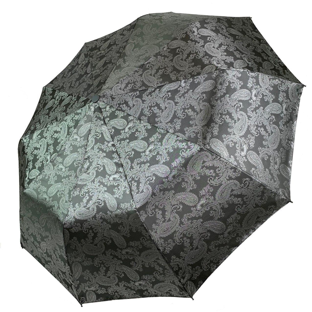 """Женский складной зонт-полуавтомат с жаккардовым куполом """"хамелеон"""" от Flagman, серый, 513-4"""