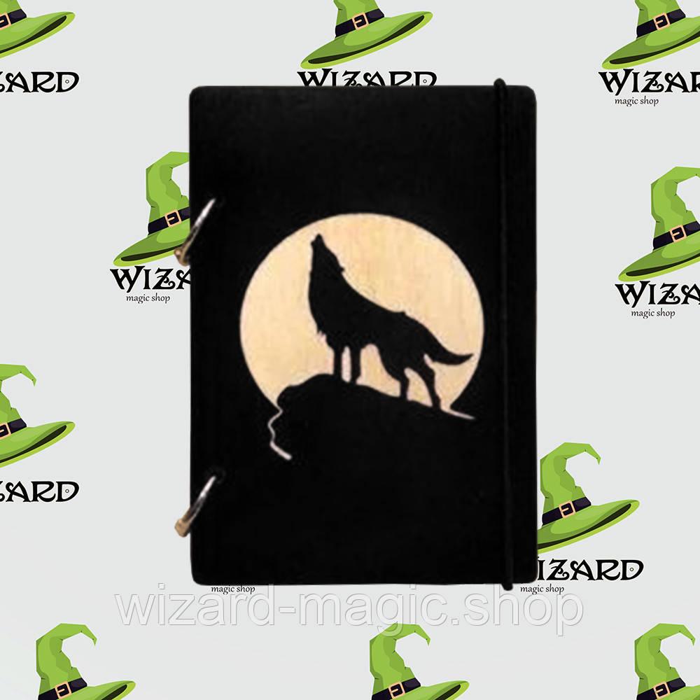 Деревянный блокнот В6 Волк и луна (черное дерево)
