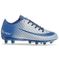 Бутсы футбольная обувь детская VL17562-TPU-28-35-NGR NAVY/GREY размер 28-35 темно-синий-серый