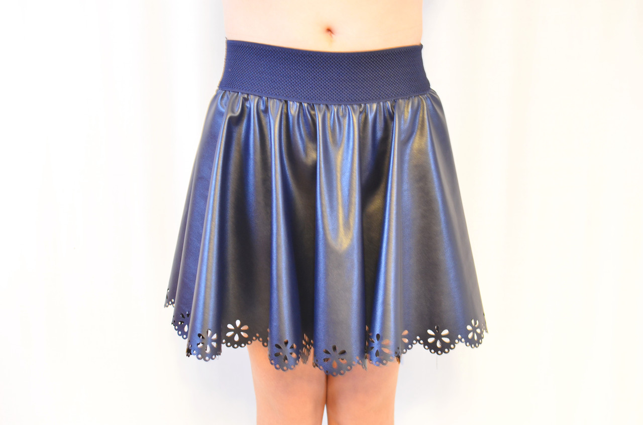 Красивая нарядная кожаная юбка на девочку, синяя  .