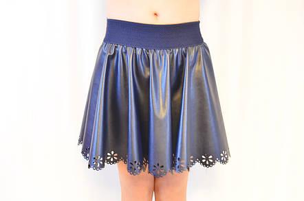 Красивая нарядная кожаная юбка на девочку, синяя  ., фото 2