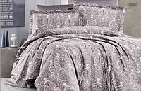 Комплект постельного белья турция First Choice. Satin Серый - Евро 7467, фото 1