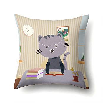 Наволочка декоративная для подушки Berni Кот ученый 45х45см Разноцветная (50125)