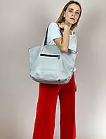 Сумка шоппер женская большая стильная из экокожи серая