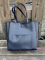 Сумка шоппер женская большая стильная из экокожи синяя, фото 1