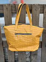 Сумка шоппер женская большая стильная из экокожи желтая, фото 1