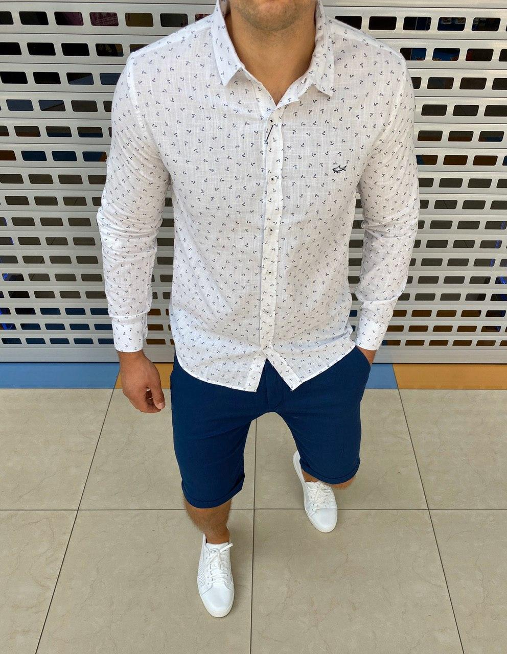 Брендовая мужская рубашка Paul & Shark  H0764 белая