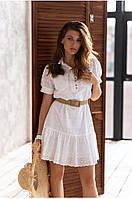 """Женское платье-рубашка из прошвы """"полоска"""" Lipar Белое"""