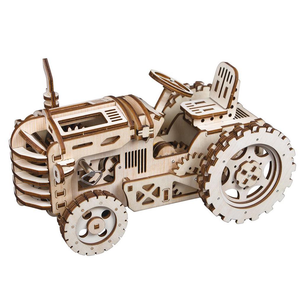 """Дерев'яний конструктор ROKR LK401 """"Трактор"""" 3D пазл"""