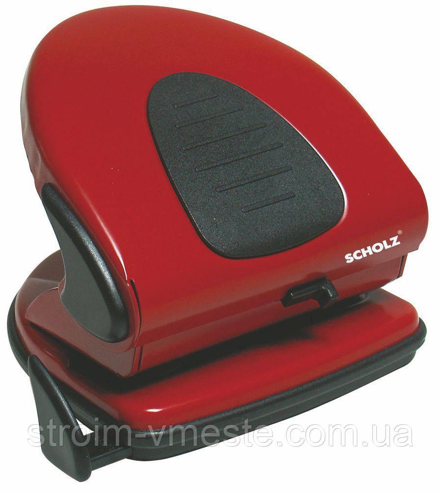 Дырокол для бумаги с линейкой SCHOLZ 4314 8 см 30 л красный