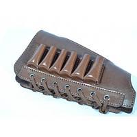 Патронташ на приклад шкіряний зі замшевою вставкою коричневий