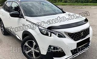 Дефлектор капота (мухобойка) Peugeot 3008 2017- (SIM)