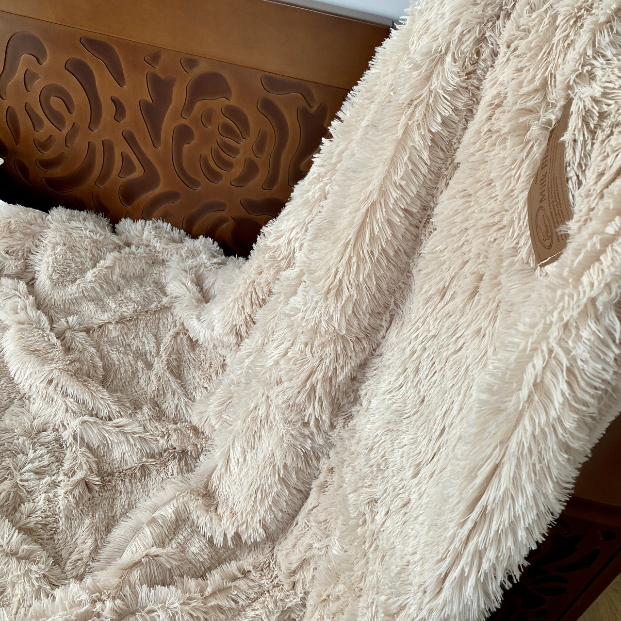 Покривало травичка | Пухнастий махровий плед. Koloco (колоко)- з довгим ворсом. 160х210 див. Колір Фуксія.
