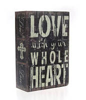 Книга-сейф Любовь Maxlend размер 18х12 см. Шкатулка с ключом для хранения купюр, ценностей, украшений