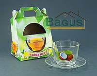 """Набор чайный """"Гламур"""" 2 пр. (чашка + блюдце) стекло """"Кокос"""" в подарочной упаковке"""