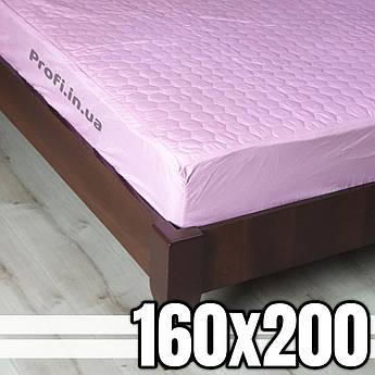 Наматрасник стеганый розовый 160х200 см, с тканевым бортом