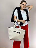 Сумка шоппер женская большая стильная из экокожи бежевая