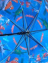 Зонт трость детский для мальчика полуавтомат Rainproof с рисунком «Самолетики» на 4-8 лет. Детский зонтик., фото 3